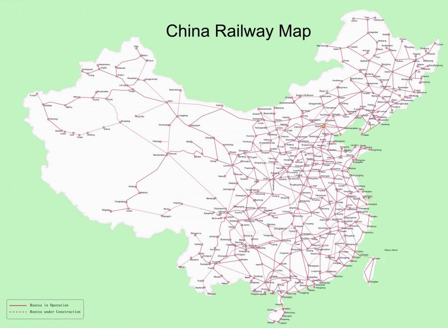 Mapa kolejowa Chin