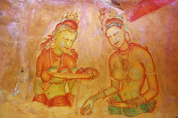 Freski przedstawiające nagie kobiety, namalowane na skałach z V wieku. Sigiriya, Sri Lanka.