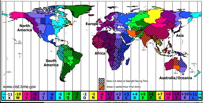 Mapa stref czasowych świata.
