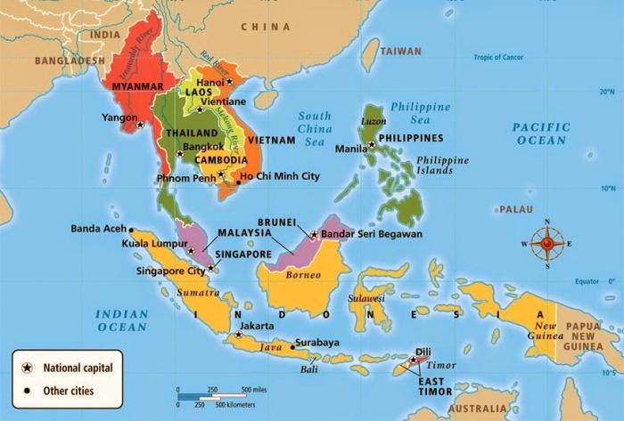 Mapa Azji południowo - wschodniej.