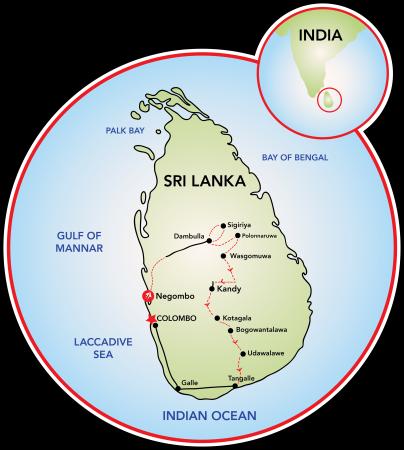 Mapa Sri Lanki.