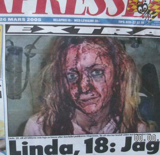 """Linda, lat 18, brutalnie zgwałcona przez społeczeństwo multi - """"kulturowe"""". Według badań w którymś etapie swojego życia zgwałconych lub napastowanych seksulanie będzie 23% wszystkich Szwedek i będą to gwałty popełniane przez muzułmanów. Czy Szwedzi nadal chcą być """"wzbogacani kulturowo"""" ???"""