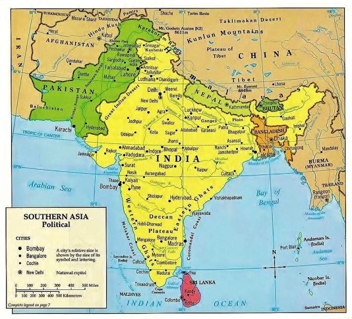 Mapa Azji Południowej.