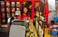 Malezja - dziewczyna sprzedająca trzcinę cukrową.