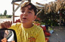 Turcja - chłopiec sprzedający owoce na drodze.